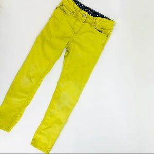Mini Boden chartreuse skinny adjustable waist pant